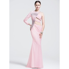 Trumpet/Mermaid Scoop Neck Sweep Train Chiffon Evening Dress With Beading