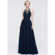 A-Line/Princess Halter Floor-Length Tulle Prom Dresses With Ruffle Beading Sequins
