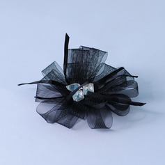 Classic Flowers & Feathers With Rhinestone