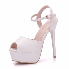 Women's Leatherette Spool Heel Peep Toe Platform Pumps