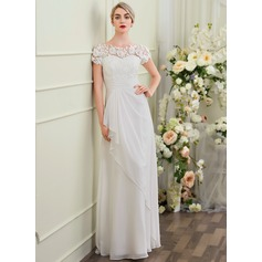 Sheath/Column Scoop Neck Floor-Length Chiffon Wedding Dress With Cascading Ruffles