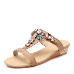 Kvinner Lær Flat Hæl Sandaler Flate sko med Rhinestone sko