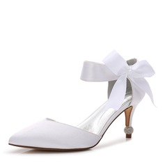 Women's Silk Like Satin Stiletto Heel Closed Toe With Ribbon Tie