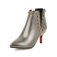 Women's Patent Leather Cone Heel Ankle Boots With Rivet Split Joint shoes