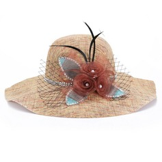 Ladies' Simple/Pretty Linen With Flower Floppy Hat
