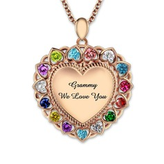 Personalized Ladies' Eternal Love With Heart Cubic Zirconia Engraved Necklaces Necklaces For Bride/For Mother