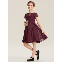 Scoop Neck Knee-Length Chiffon Lace Junior Bridesmaid Dress With Bow(s) (268217461)