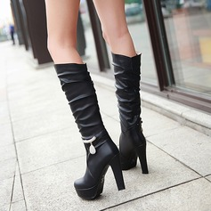 Women's Leatherette Stiletto Heel Pumps Platform Boots Knee High Boots With Rhinestone Chain shoes