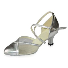 Women's Leatherette Heels Pumps Modern Ballroom With Ankle Strap Dance Shoes