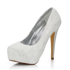 Women's Lace Satin Stiletto Heel Closed Toe Pumps Dyeable Shoes