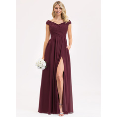A-Line Off-the-Shoulder Floor-Length Chiffon Bridesmaid Dress With Ruffle Split Front Pockets (007206459)