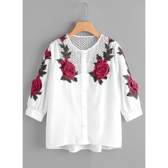 Embroidery 3/4 Sleeves Cotton Round Neck Casual Blouses Blouses (1003159548)