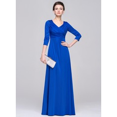 Empire V-neck Floor-Length Jersey Evening Dress With Ruffle