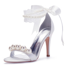 Women's Silk Like Satin Stiletto Heel Peep Toe Pumps Sandals With Beading Imitation Pearl Ribbon Tie Stitching Lace
