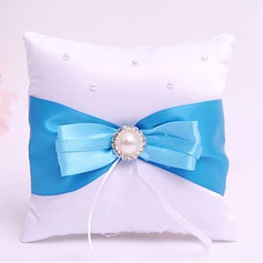 Square Ring Pillow in Satin With Ribbons/Rhinestones/Faux Pearl