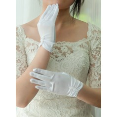 Satin Wrist Length Bridal Gloves (014125675)