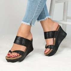 Women's Microfiber Leather Wedge Heel Sandals shoes (087202482)