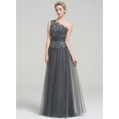 A-Line One-Shoulder Floor-Length Tulle Evening Dress With Ruffle Beading Sequins (271253237)