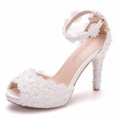 Women's Leatherette Spool Heel Peep Toe Platform With Applique