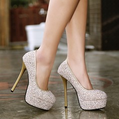 Women's Leatherette Sparkling Glitter Stiletto Heel Closed Toe Platform Pumps With Sparkling Glitter (047109235)