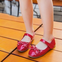 Girl's Patent Leather Flat Heel Closed Toe Flats With Bowknot Velcro