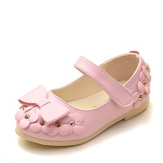Girl's Leatherette Flat Heel Round Toe Closed Toe Flats With Bowknot Flower