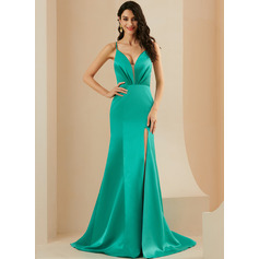 Trumpet/Mermaid V-neck Sweep Train Satin Prom Dresses With Ruffle Split Front