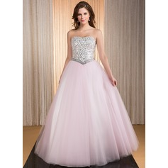 Ball-Gown Sweetheart Floor-Length Taffeta Tulle Quinceanera Dress With Beading Sequins (021041117)