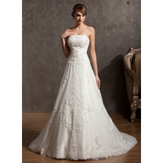 A-Line/Princess Strapless Chapel Train Satin Wedding Dress With Beading Appliques Lace