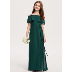 Off-the-Shoulder Floor-Length Chiffon Junior Bridesmaid Dress With Bow(s) (268230860)