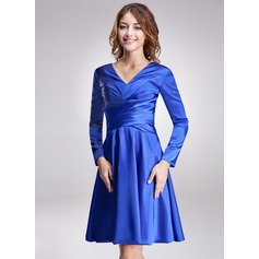 A-Line/Princess V-neck Knee-Length Charmeuse Kate Middleton Style With Ruffle