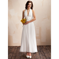 Halter Ankle-Length Chiffon Wedding Dress With Ruffle Bow(s) (265193169)
