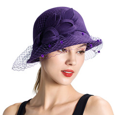 Ladies' Glamourous/Pretty/Romantic Wool With Tulle Bowler/Cloche Hats