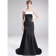 Trumpet/Mermaid Strapless Sweep Train Satin Mother of the Bride Dress With Sash