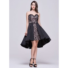 A-Line/Princess Sweetheart Asymmetrical Satin Lace Homecoming Dress