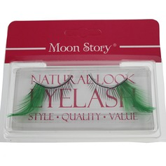 1 Pair Black & Green Feather False Eyelashes CFE410