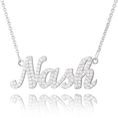 Custom Sterling Silver Plate Name Necklace With Diamond - Valentines Gifts