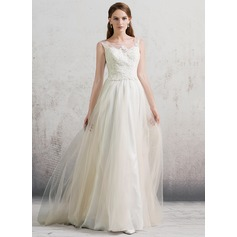 A-Line/Princess Scoop Neck Sweep Train Tulle Wedding Dress With Beading Sequins