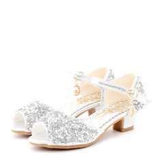 Girl's Peep Toe Sparkling Glitter Low Heel Sandals Flower Girl Shoes