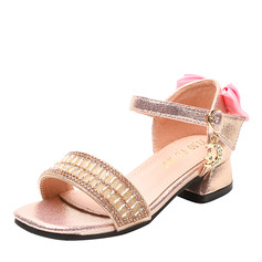 Girl Peep Toe Microfiber Leather Sandals Flower Girl Shoes With Bowknot Rhinestone