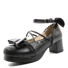 Women's Leatherette Chunky Heel Platform With Bowknot Hollow-out shoes