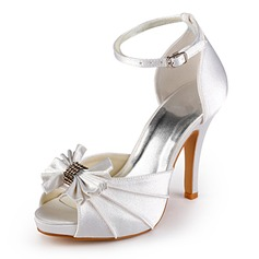 Women's Satin Cone Heel Peep Toe Platform Sandals With Bowknot Buckle
