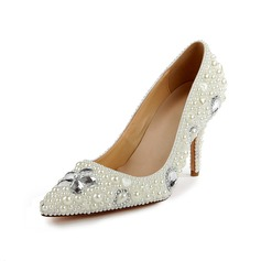 Patent Leather Cone Heel Pumps Closed Toe With Rhinestone Imitation Pearl shoes