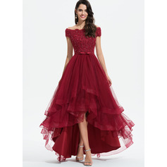 A-Line Off-the-Shoulder Asymmetrical Tulle Prom Dresses (018175946)