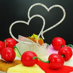 Cake Jewelry Double Hearts Chrome/Czech Stones Wedding Cake Topper