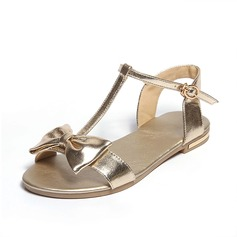 Women's Real Leather Flat Heel Sandals Flats Peep Toe With Bowknot Buckle shoes