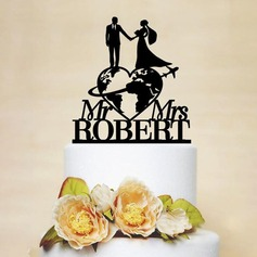 Klassisk stil/Mr & Mrs Akryl/Wood Kake Topper
