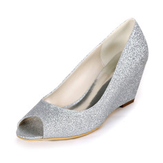Women's Sparkling Glitter Wedge Heel Peep Toe Wedges
