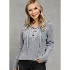 Ribbed Polyester Hooded Pullovers Sweaters (1002223057)