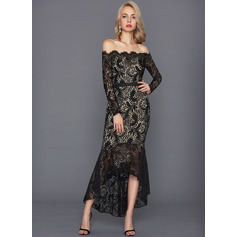 Trumpet/Mermaid Off-the-Shoulder Asymmetrical Lace Cocktail Dress